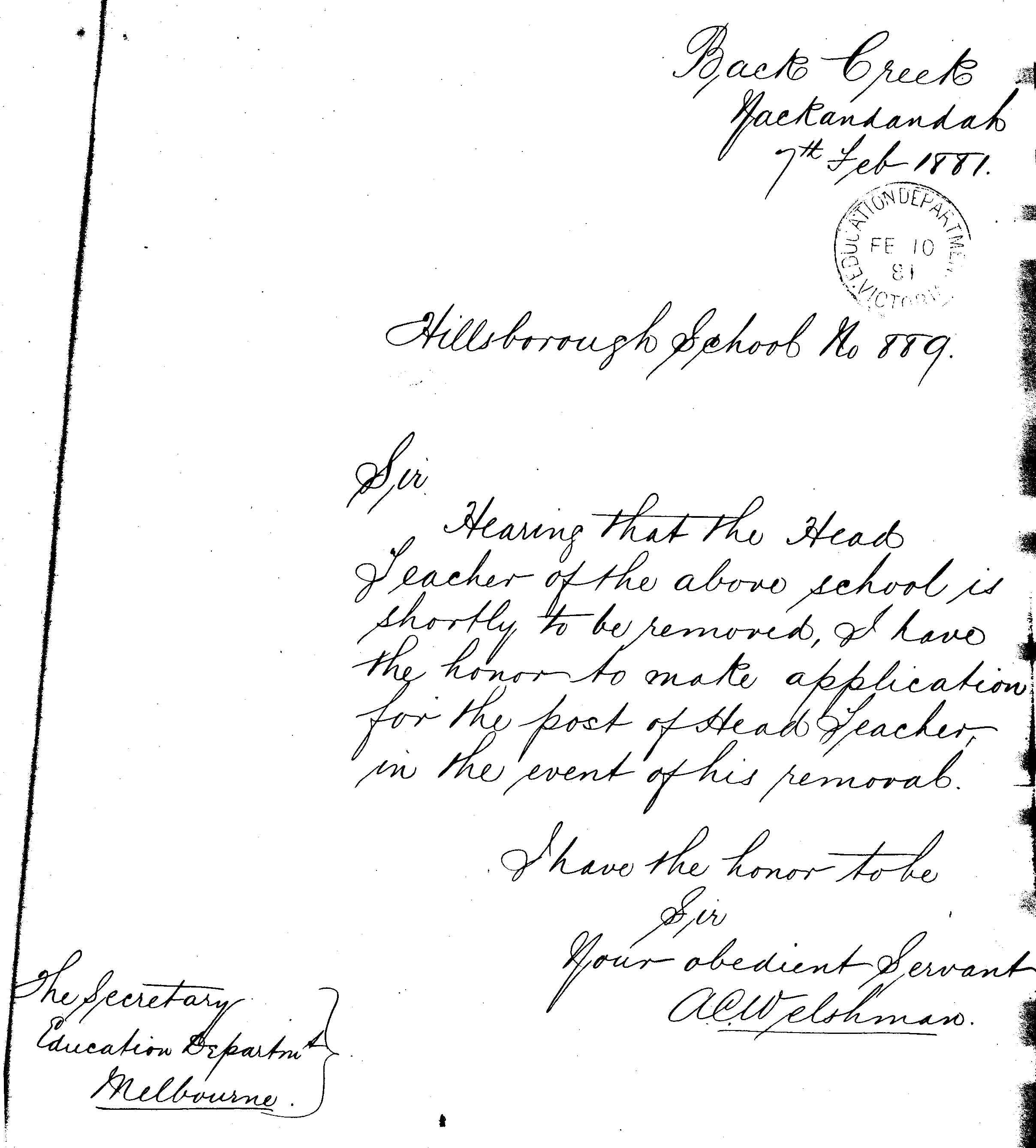 24 mar 1881 mrs vales resignation as sewing mistress